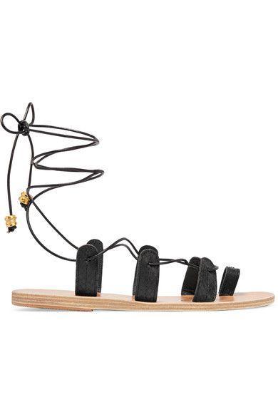 Ancient Greek Sandals - Ilias Lalaounis Alcyone Lace-up Leather-trimmed Snake Sandals - Black - IT35