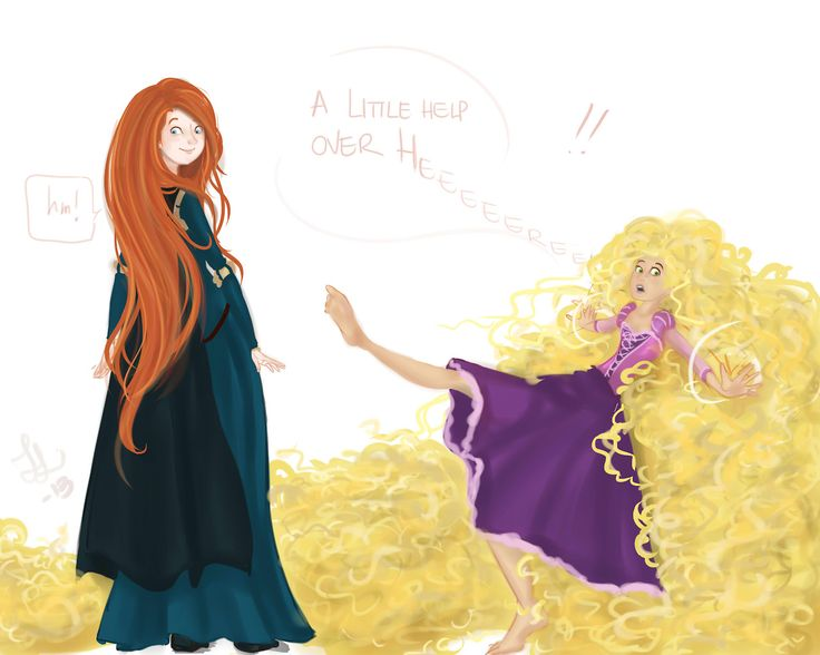Merida and Punzie hair swap 1 (Merida's happy)