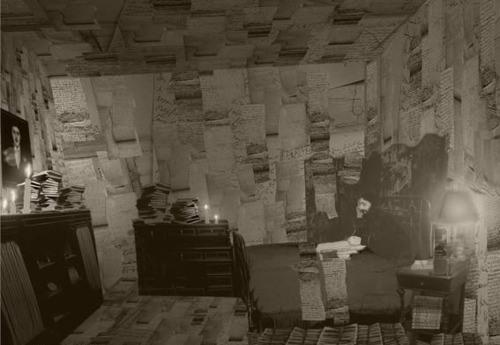 """Marcel Proust's bedroom at 44 rue Hamelin with pages and drafts of """"A la recherche du temps perdu"""" covering the walls."""