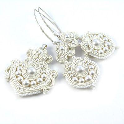 biżuteria ślubna, perły, Swarovski, komplet ślubny, sutasz, soutache, sutaszowa biżuteria, PiLLow Design, Małgorzata Sowa, kolczyki sutasz, ...