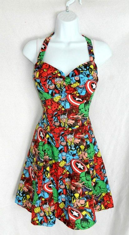 I love the cute and shape of this dress. Would like more if the pattern was DC and not Marvel.