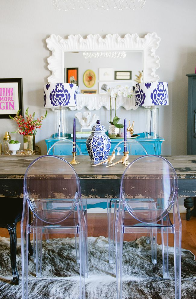 Katie Taylor S Austin Texas Home Tour The Everygirl Clear Dining Chairs Ghost Chair Dining Room Ghost Chairs Dining
