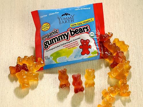 yummy earth organic gummy bears; these are seriously great and made gluten free/corn free