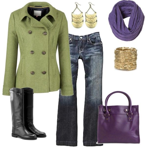 Casual Outfit lime green jacket, blue jeans, black bootstrap gold jewelry, purple
