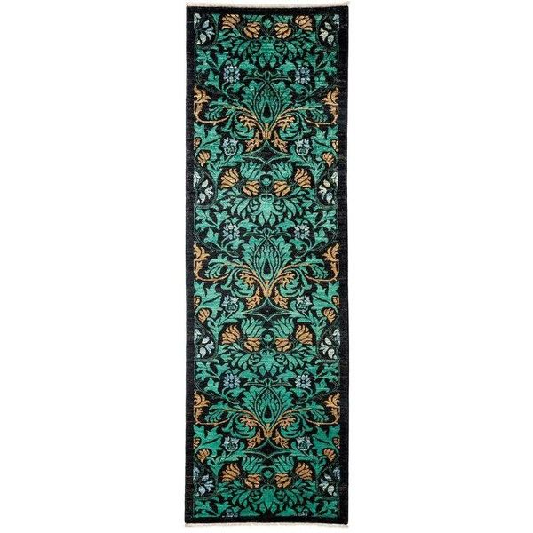 """Arts & Crafts Hand Knotted Runner - 3'0"""" X 9'9"""" ($1,499) ❤ liked on Polyvore featuring home, rugs, contemporary handmade rugs, craftsman area rugs, hand knotted rugs, hand-knotted rug, arts and crafts rugs and leaf rug"""
