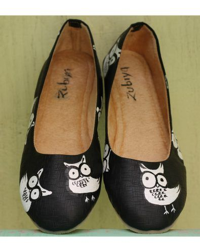 black color almond toe ballerinas shoes styletag
