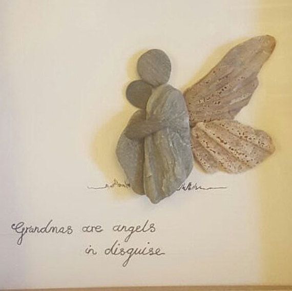 Grandmas are angels in disguise, framed pebble picture, loved one, angel…