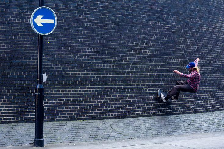 Skateboarder on wall