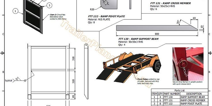 2500kg Flatbed Tilt Trailer - Trailer Plans - Build your own trailer - www.trailerplans.com.au