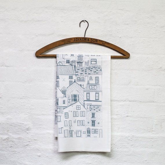 Coastal Cottages tea towel by jessicahogarth on Etsy, £7.00