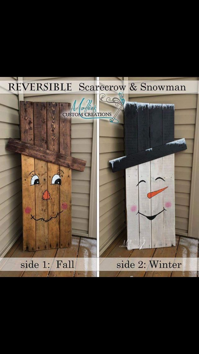 Reversible Scarecrow and Snowman - front porch pallet project