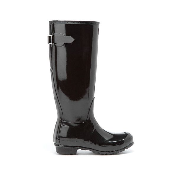 Hunter Women's Original Back Adjustable Gloss Wellies (£100) ❤ liked on Polyvore featuring shoes, boots, black, black rain boots, tall black boots, black boots, waterproof rubber boots and wellington boots