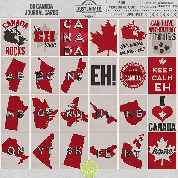 Oh Canada Journal Cards
