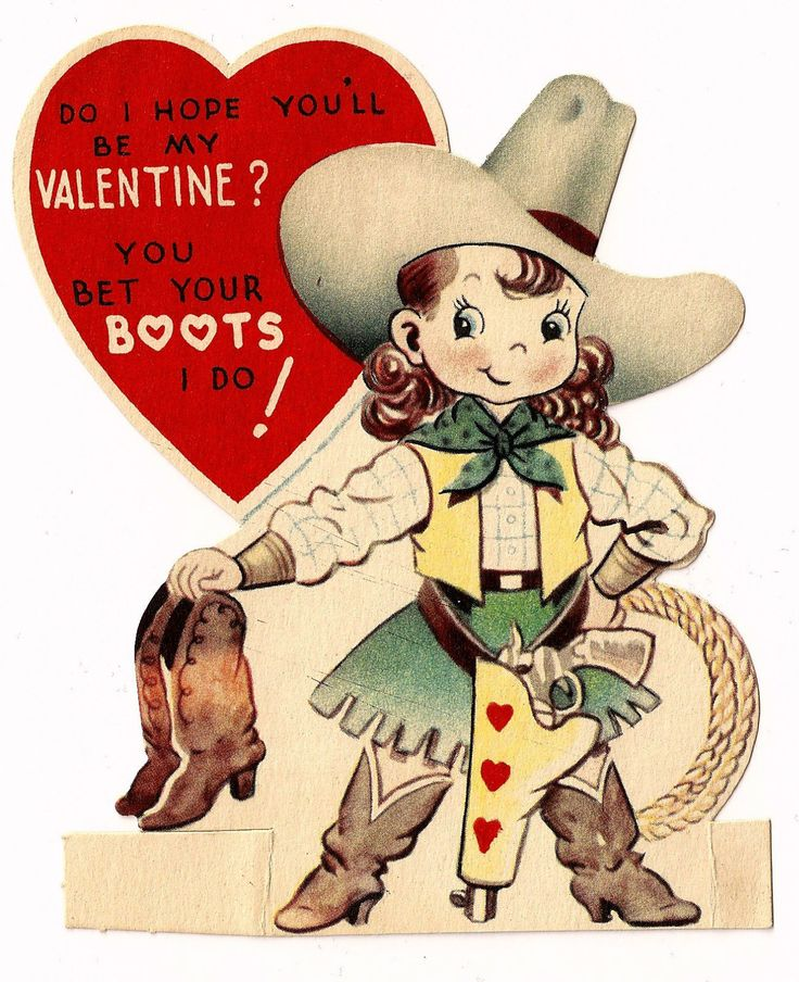 """Cute Western Cowgirl Says """"You Bet Your Boots"""" Vintage Valentine Greeting Card 