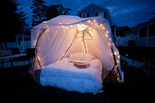 Sparkling fairy lights + chiffon-draped canopy bed + cool night air + GUITAR.Outdoor Beds, Ideas, Under The Stars, Tents, Backyards Camps, Dreams, Fairies Lights, Canopies Beds, Sleep