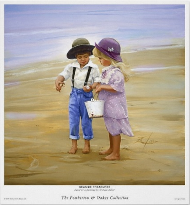 """""""Children At The Beach - Seaside Treasures"""", by American artist - Donald Zolan (1937-2009), Oil."""
