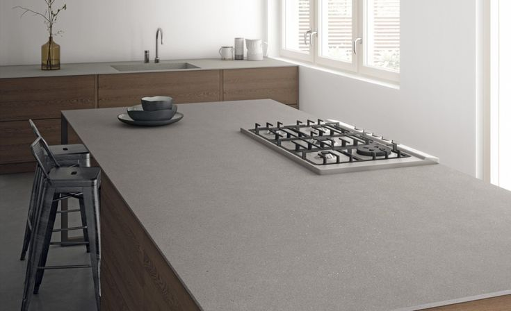Cosmos iTOPKer in Piedra colour. 12mm-thick porcelain slab for countertops in a extra-large format 150x320 cm.
