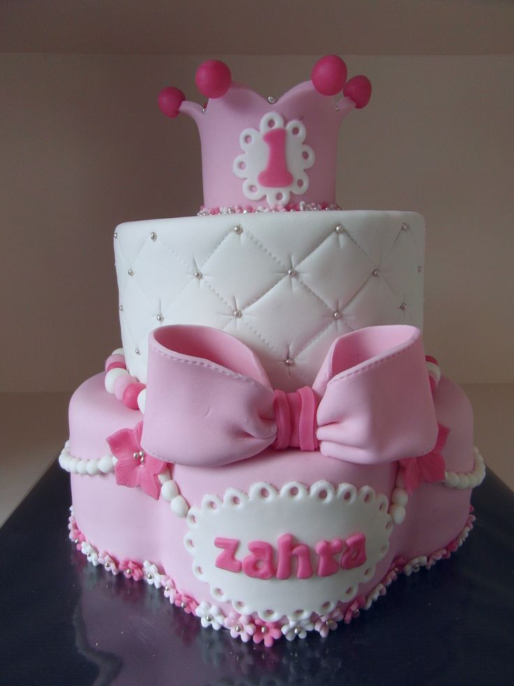 cake with crown pink/white