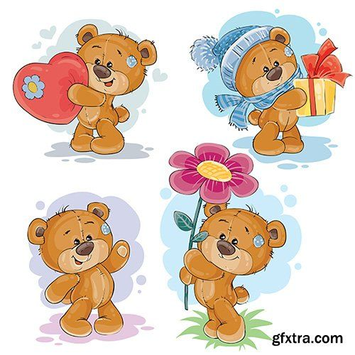 Clip art illustrations of teddy bear » Vector, Photoshop PSDAfter Effects, Tutorials, Template, 3D,