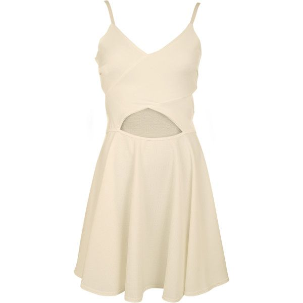 Sigourney Strappy Cut Out Skater Dress ($26) ❤ liked on Polyvore featuring dresses, cream, pink skater dress, summer dresses, flare cocktail dress, night out dresses and cut out skater dress