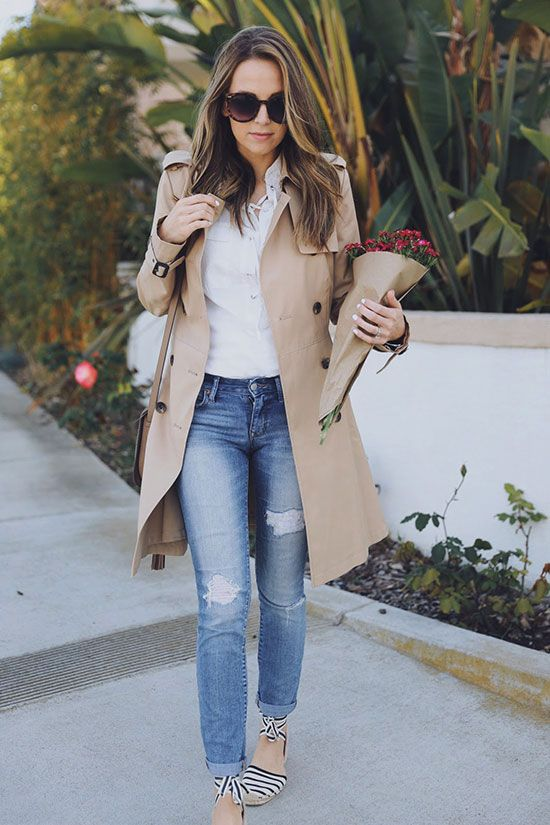 spring outfit, summer outfit, casual outfit, comfy outfit, spring fashion, summer fashion, street style, street chic style - beige trench coat, white blouse, boyfriend jeans, striped espadrilles, brown sunglasses, nude shoulder bag