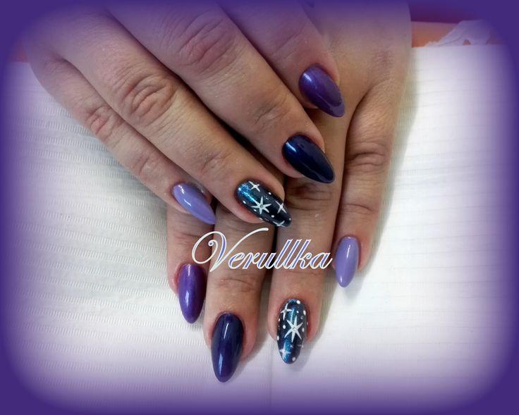 Starry sky on purple gel nails