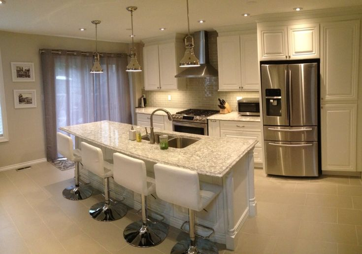 White Quartz Modern Kitchen Greige