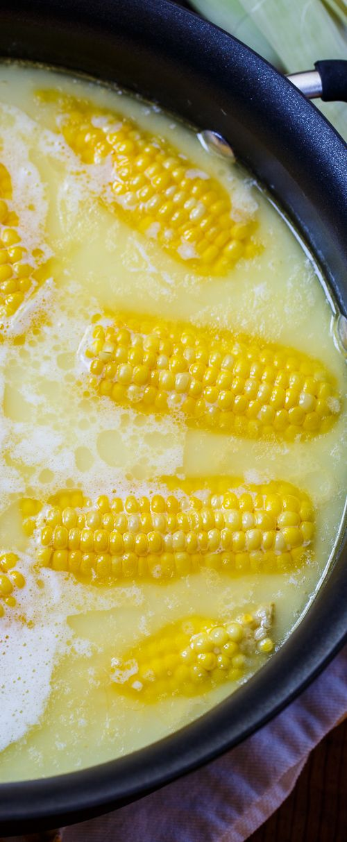 Best Way to Cook Corn On The Cob ~ Boiled with 1 stick of butter and 1 cup of milk... Most delicious corn Ever!