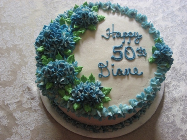Round Blue Birthday Cake