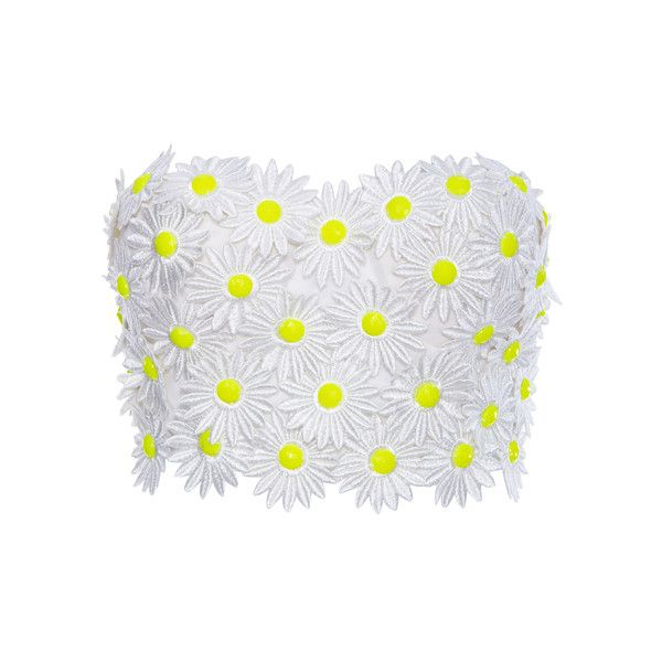 ROMWE Daisy Embellished White Bandeau ($17) ❤ liked on Polyvore featuring tops, shirts, crop tops, bralet, bustiers, bralette tops, bandeau crop top, bustier tops, white shirt and white bandeau top