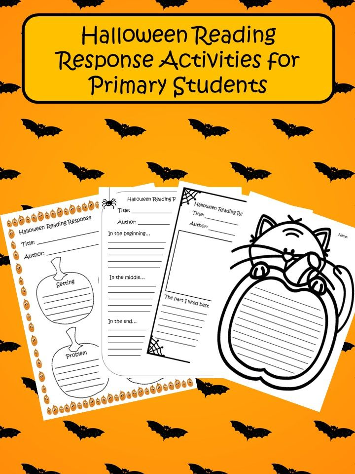 Halloween reading response activities! Beginning, middle and end. Setting, characters, problem, solution. The best part of the story.  Creative writing paper.