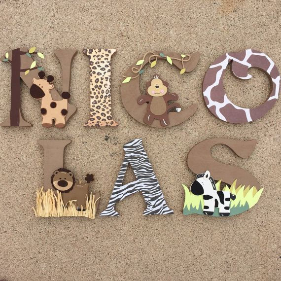 Safari Wooden Letters Animal Woodel Letters by KidMuralsbyDanaR