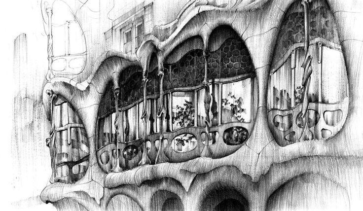 Casa batlo Antonio Gaudi rysowana ołówkiem. #pencil #batlo #barcelona #drawing #ołówek #domin #art #naukarysunku