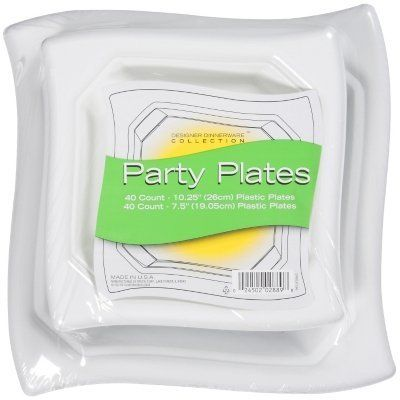 """Designer Dinnerware Party Plates Combo - 80 ct. Made in USA! by Pactiv Corp. $22.50. 40 - 7.5"""" plastic plates. White. Ideal for any occasion. 40 - 10.25"""" plastic plates. No stress and no mess clean up. Classy and elegant disposable plastic party plates."""