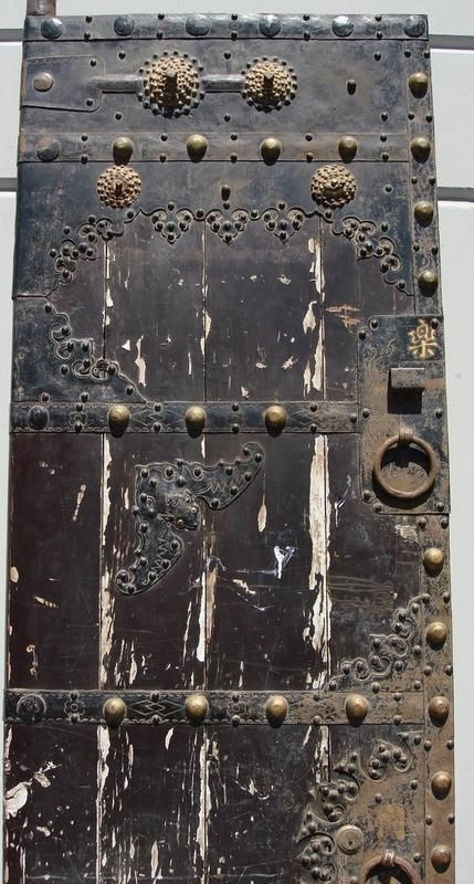 CHINESE ANTIQUE DOORS   Enormous 8' Antique Chinese Iron Clad Wood Doors For Sale   Antiques ...
