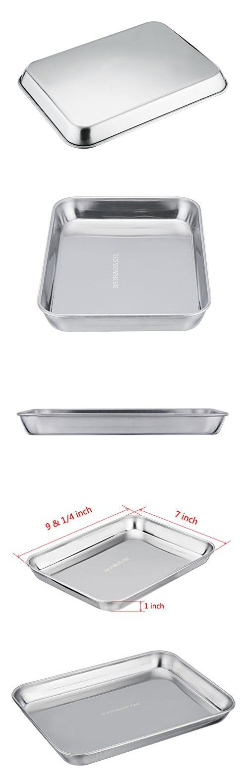 TeamFar 304 18/8 Stainless Steel Toaster Oven Pan Tray Ovenware, 7''x9''x1'', Heavy Duty & Healthy, Mirror Finish & Easy clean, Deep Edge, Dishwasher Safe (18/8 Steel)