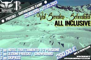 Treb freestyle snowboard Camp maestri atleti professionisti camps lezioni private per tutti i livelli negli snowpark di Livigno Chiesa Valmalenco Val Senales 2013