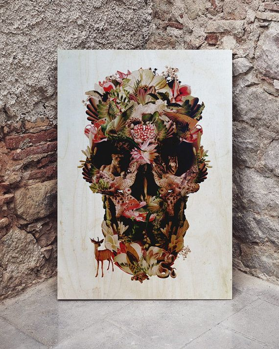 Jungle Skull Wood Print by ikiikishop on Etsy