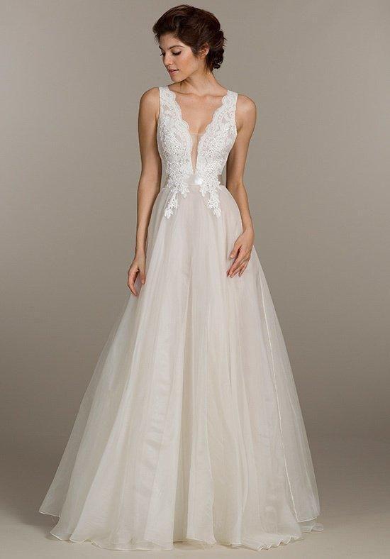 Ivory organza ball gown, Alencon lace bodice with Venise lace applique | Tara Keely | https://www.theknot.com/fashion/2500-tara-keely-wedding-dress