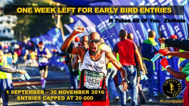 SA runners are eligible for the Early Bird entry fee of R420 up until 30 September.
