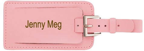 "Leather Luggage Tag Name & Address Card Metal Buckle Size: 2.25""W x 6.1""H Keep your private information from peeping eyes with our easy to spot Leather Buckle Luggage Tag. This stylish leather luggage tag features a belt buckle strap that easily attaches to any luggage. The tag opens to reveal a window for your personal information, and the flap closes for privacy. Have the bright pink tag personalized to make it extra special. The Leather Buckle Luggage Tag will help you spot your luggage…"
