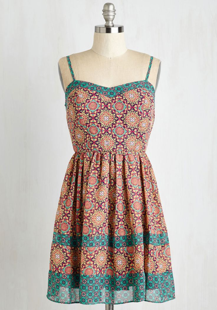Searching for Seashells Dress. Comb the coastline for seascape treasures in this colorfully printed sundress! #multi #modcloth