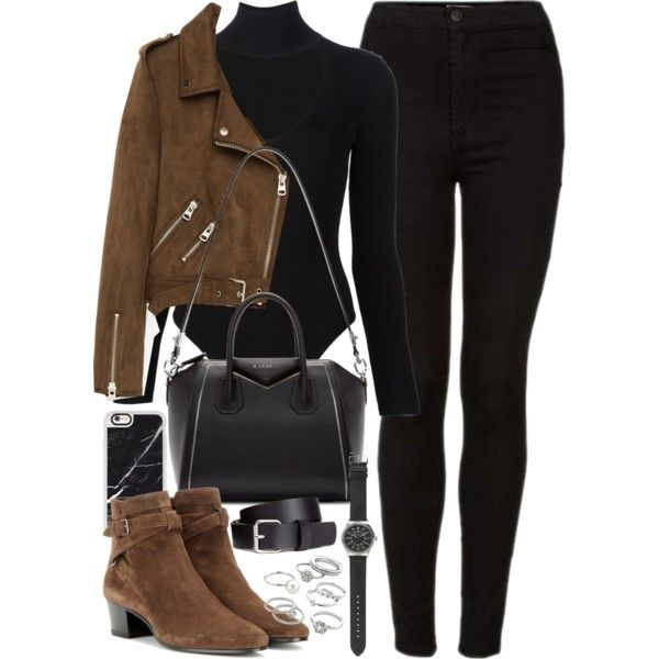 Outfit with black jeans, brown suede jacket and boots by ferned on Polyvore featuring Freebird, Topshop, Cushnie Et Ochs, Yves Saint Laurent, Givenchy, J.Crew, Candie's, Casetify and H&M