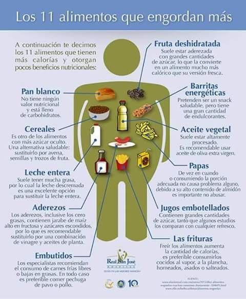 17 best images about diet dieta on pinterest sodas tes and health - Alimentos que mas engordan ...