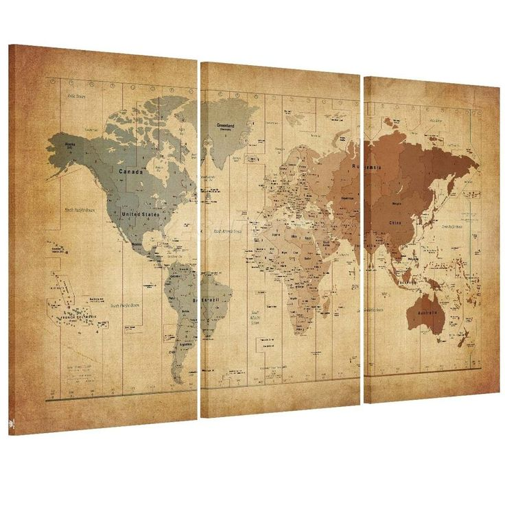 details about us ship canvas print home decor wall art painting retro world map framed