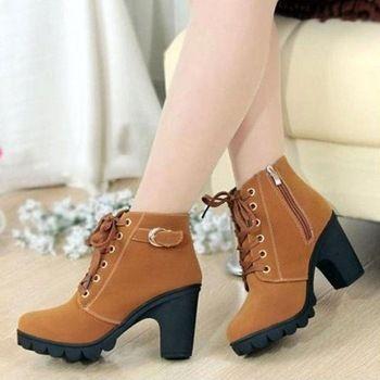Mujeres 2015 otoño invierno de terciopelo de nieve del tobillo Botas tacones gruesos negro salvaje mate señorita para mujer Feminina mujeres zapatos