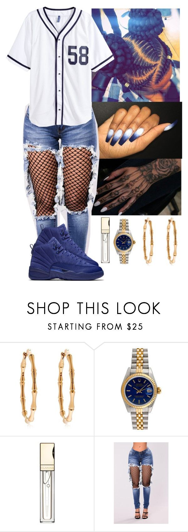 """Baseball ⚾️"" by flawlessgirlty ❤ liked on Polyvore featuring Gucci, Rolex, Clarins and H&M"