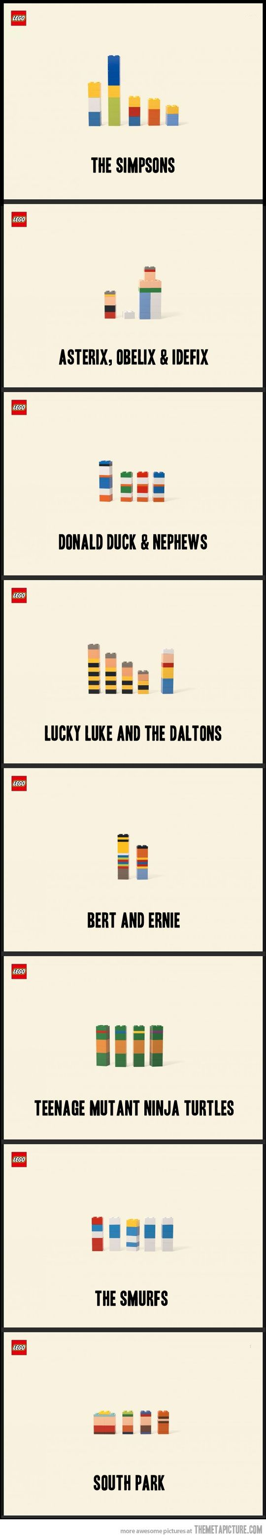 Lego. Who doesn't love it!. These Minimalistic Lego Cartoon Characters are very clever!