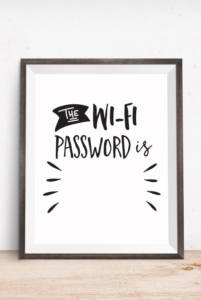 The Wi-Fi Password is Printable Art Typography by happythoughtshop