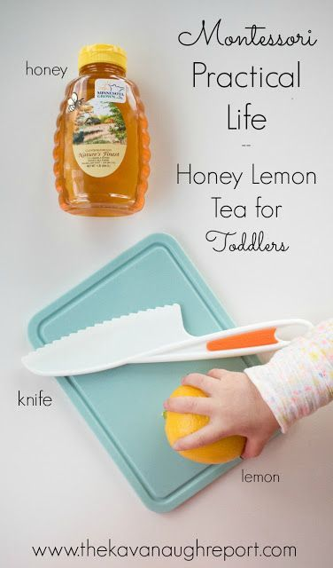 A Montessori practical life idea for toddlers, honey lemon tea. This easy idea helps to promote independence in the kitchen.